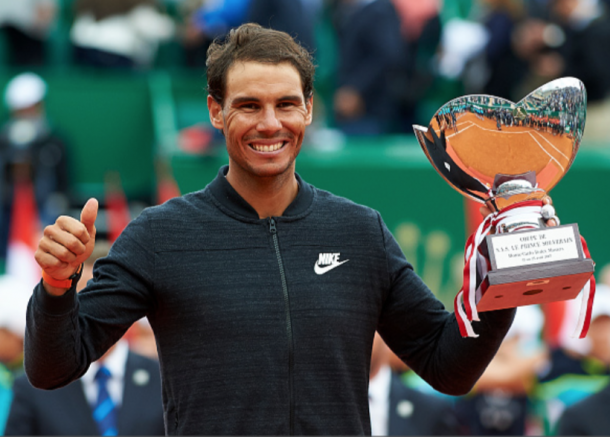 Nadal with his first title of the year in Monte Carlo (Fotopress/Getty Images)
