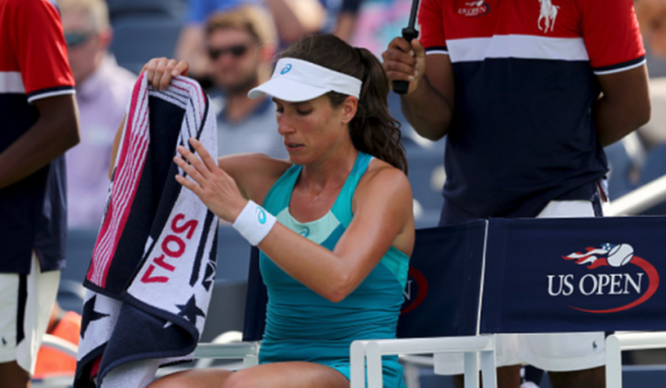 Konta was shocked in the opening round of the US Open to Aleksandra Krunic (Elsa/Getty Images)
