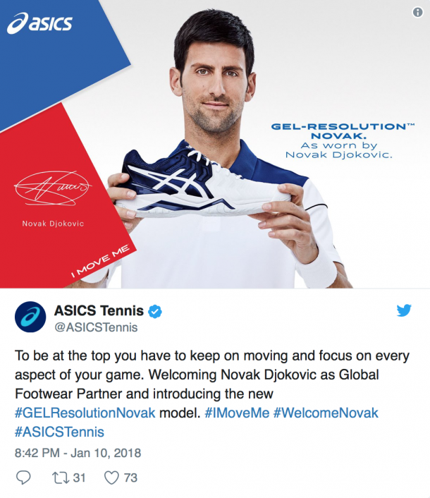 Djokovic will debut his new shoe, the Gel Resolution Novak, at the Australian Open (Asics Tennis Twitter)