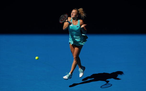 Siniakova took it to Svitolina going for the lines throughout the opener (Scott Barbour/Getty Images)