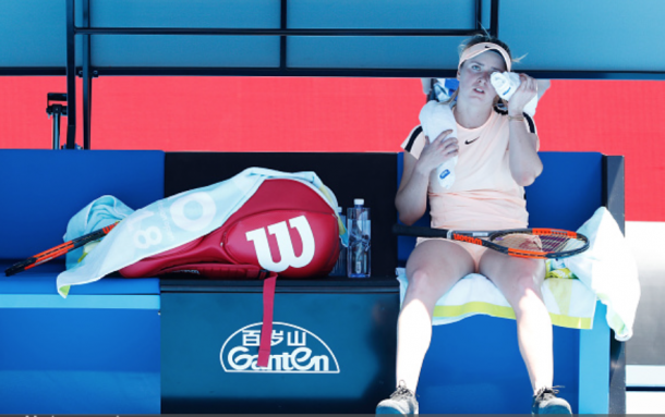 Svitolina was made to wait during a changeover as Siniakova took a medical timeout (Michael Dodge/Getty Images)