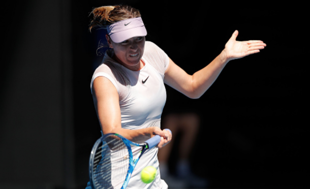 Sharapova's groundstrokes were exceptional in the opening set (Michael Dodge/Getty Images)