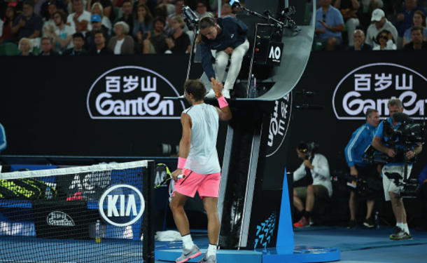 The moment Nadal called it quits, walking over to the chair umpire for only his second ever retirement in a Grand Slam match (Clive Brunskill/Getty Images)