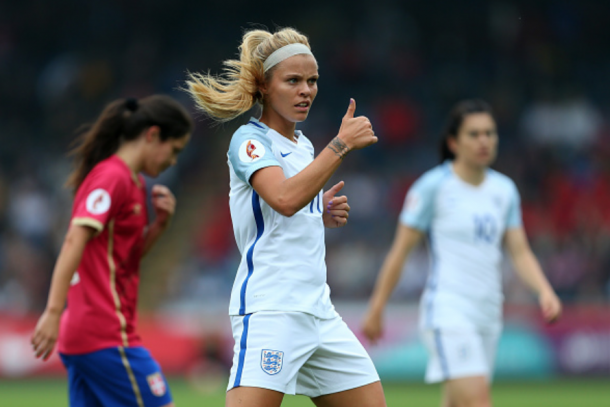 Rachel Daly hopes to give plenty of thumbs up during the SheBelieves Cup. (Photo by Catherine Ivill - AMA/Getty Images)
