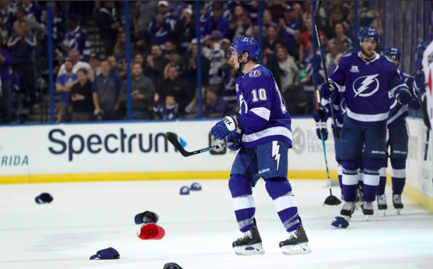 J.T. Miller celebrating his hat-trick with teammates against the Ottawa Senators. | Photo: Raw Charge of SB Nation
