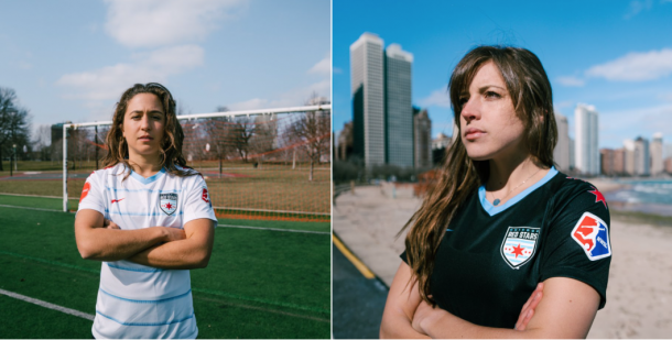Danielle Colaprico (left) and Sofia Huerta (right) show off Chicago Red Stars 10 year anniversary kits. | Photo: Chicago Red Stars
