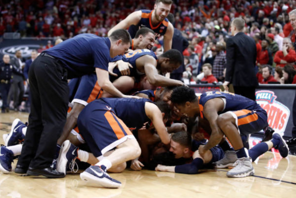 Virginia celebrates their stunning last-second victory at Louisville (Andy Lyons/Getty Images)