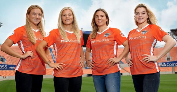 From left to right: Kristie Mewis, Rachel Daly, Amber Brooks and Kealia Ohai. | Photo: Houston Dash