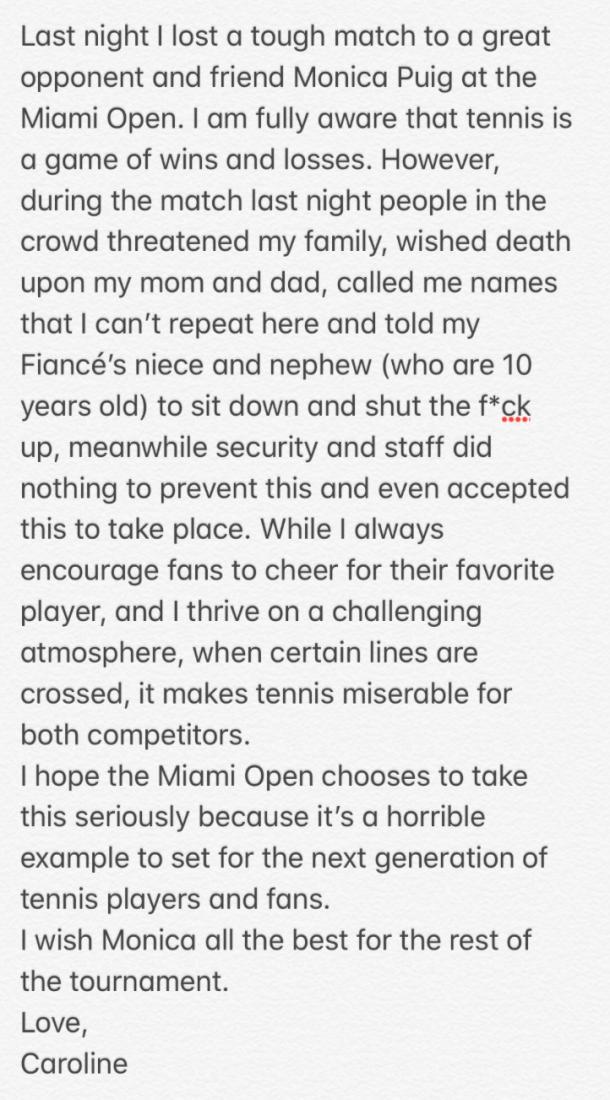 Caroline Wozniacki's statement about the hostile Miami crowd