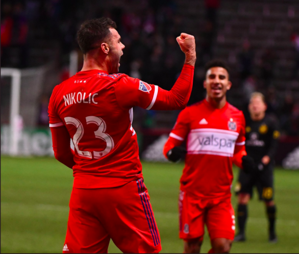 Nemanja Nikolic celebrates his goal against Columbus Crew SC. | Photo: Chicago Fire on Twitter
