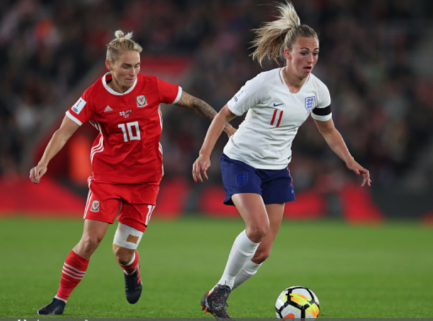 #10 Jessica Fishlock of the Seattle Reign and Wales midfielder chases down #11 England forward Toni Duggan. (Photo by Catherine Ivill/Getty Images)