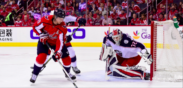 The Columbus Blue Jackets comeback to defeat the Washington Capitals 4-3 in overtime. | Photo: Washington Capitals on Twitter