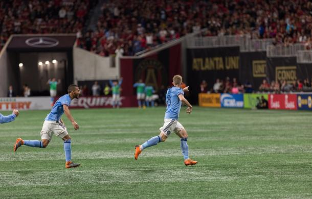 Alex Ring celebrating the equalizer. | Photo: New York City FC