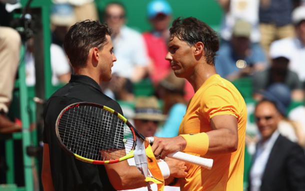 Nadal and Thiem shared a nice handshake at the net (Julian Finney/Getty Images)