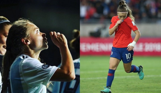 Washington Spirit teammates Estefania Banini of Argentina (left) Yanara Aedo of Chile (right) will face each other for a 2019 Women's World Cup qualifying spot. (Photo courtesy of Washington Spirt website)