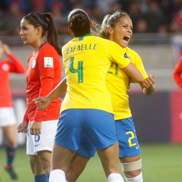 Orlando Pride and Brazil defender Moníca celebrate her goal against Chile. (Photo courtesy of Copa América Femenina official website)