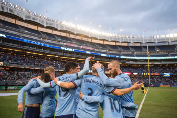 David Villa celebrating his 400th goal with his teammates. | Photo: New York City FC