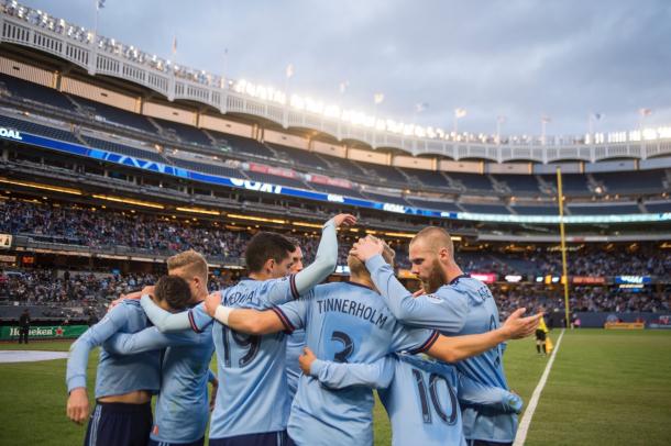 David Villa celebrating his goal with his teammates. | Photo: New York City FC