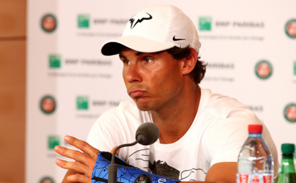 Rafael Nadal talks to the press after his withdrawal from the 2016 French Open (Clive Brunskill/Getty Images)