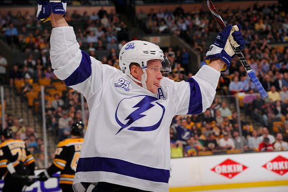 Ondrej Palat celebrates a goal against the Boston Bruins. | Photo: Tampa Bay Lightning on Twitter