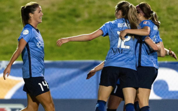 Katie Johnson (14) celebrates one of her two goals with her Sky Blue FC teammates. (Source: SkyBlueFC.com)