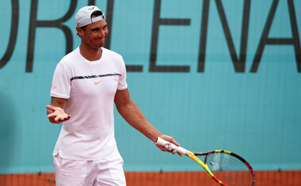 Nadal all smiles during training at Mutua Madrid Open (Quality Sport Images/Getty Images)