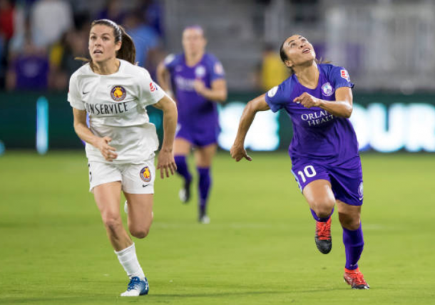 Expect Kelley O'Hara (left) and Marta (right) to battle each other Wednesday night at Rio Tinto Stadium. (Photo by Andrew Bershaw/Icon Sportswire via Getty Images)