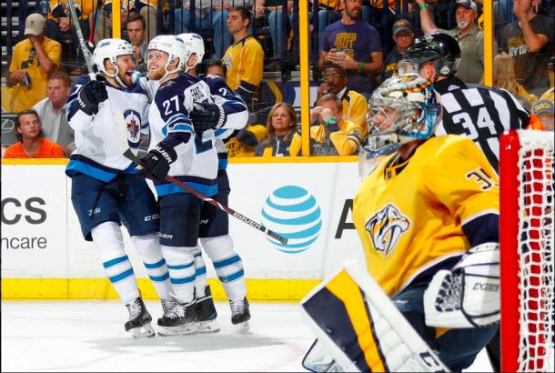 Tyler Meyers celebrates his goal against the Nashville Predators. | Photo: Winnipeg Jets on Twitter