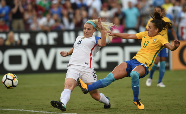 Julie Ertz scores the game winner as the USWNT came from behind to beat Brazil 4-3 in last year's Tournament of Nations. (Photo by Chris Williams/Icon Sportswire via Getty Images)