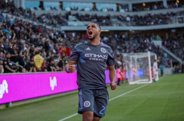 Ismael Tajouri-Shradi celebrating a goal on his return. | Photo: New York City FC