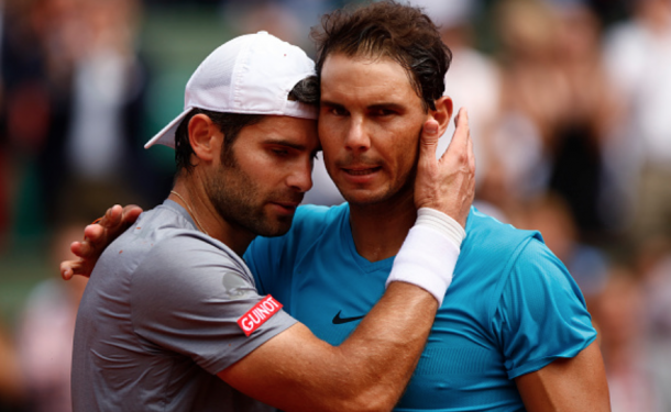 Nadal and Bolelli share a nice moment at the net (NurPhoto/Getty Images)