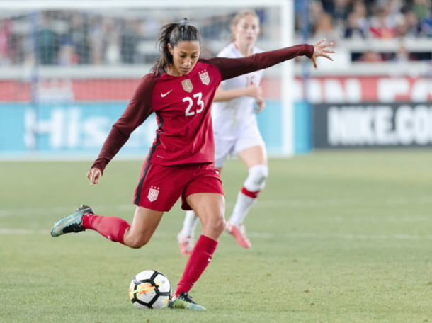 Christen Press makes her return to the USWNT roster after choosing to play in Sweden this season. (Photo by David Madison/Getty Images)