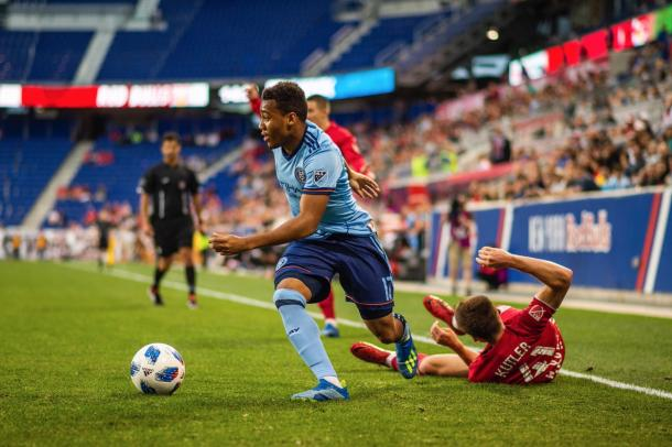 Jonathan Lewis was active in the first half. | Photo: New York City FC