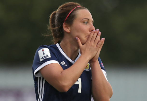 Rachel Corsie of Scotland and the Utah Royals FC has lead the Scotland Womens's National team to at least a second place finish in World Cup qualifiers. (Photo by Jose Breton/NurPhoto via Getty Images)