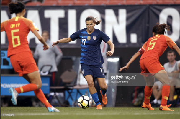 Tobin Heath comes off injury to score the winning goal. Photo:Getty Images/IconSportswire