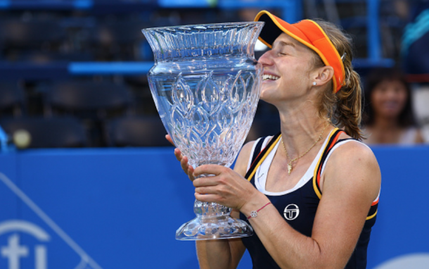 Makarova with a kiss to her third career singles title (Icon Sportswire/Getty Images)