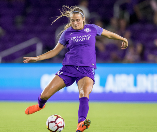 Orlando Pride defender Shelina Zadorsky picked up an assist on Alex Morgan's goal in the first half. (Photo by Joe Petro/Icon Sportswire via Getty Images)