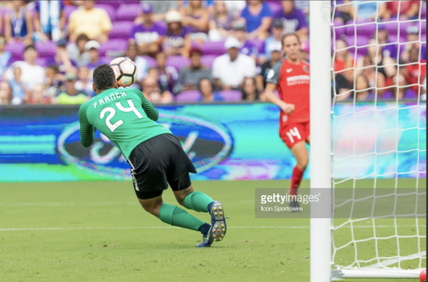 Franch demonstrates her speedy saves. Photo: Getty Images/IconSportswire