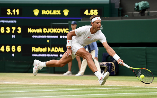 Nadal hitting a brilliant forehand on the run (Clive Mason/Getty ImageS)