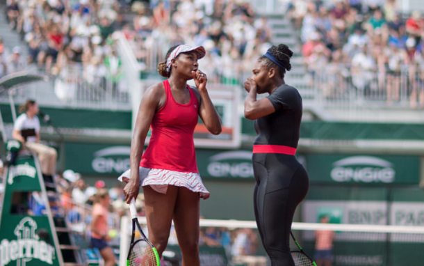 Serena picked up her pectoral injury in her doubles match with Venus at the French Open (Tim Clayton/Corbis Sport/Getty Images)