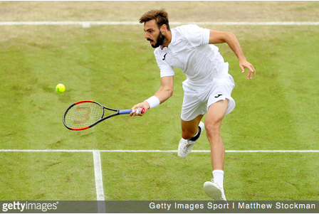 Marcel Granollers hits a forehand.   Getty Images Sport   Matthew Stockman