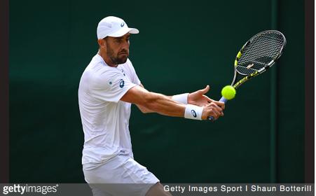 Steve Johnson hits a slice.   Getty Images Sport   Shaun Botterill