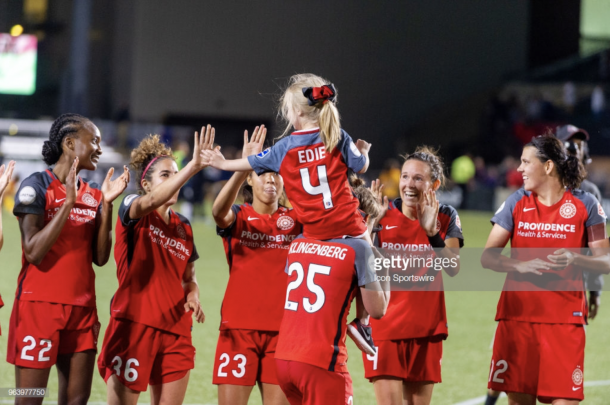 The Portland Thorns high five fans. Photo: Getty Images/IconSportswire