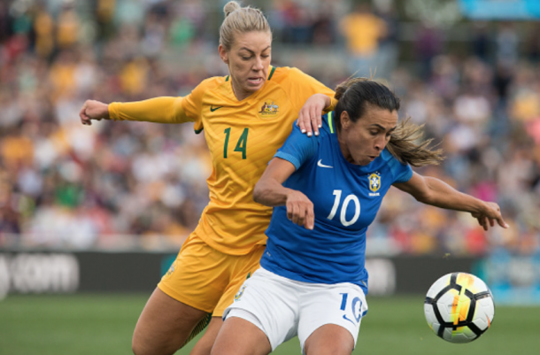 Orlando Pride teammates Australian Alanna Kennedy (left) and Brazilian Marta (right) will renew their rivalry Thursday. (Photo by Steve Christo - Corbis/Corbis via Getty Images)