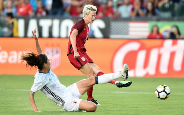 Last year Seattle Reign FC teammates Megan Rapinoe (Red) and Rumi Utsugi (White) played in last year's tournament. This year Utsugi did not get a call up for Japan due to injury. (Photo by Chris Williams/Icon Sportswire via Getty Images)