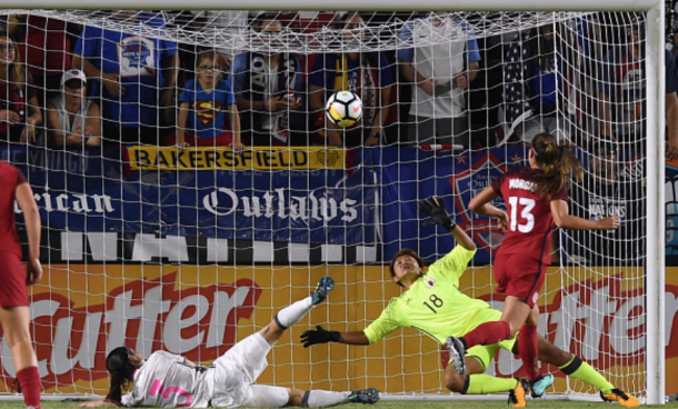 Orlando Pride Alex Morgan watches her shot go by Japan goalkeeper Ayaka Yamashita (18) during last year tournament. (Photo by Chris Williams/Icon Sportswire via Getty Images)