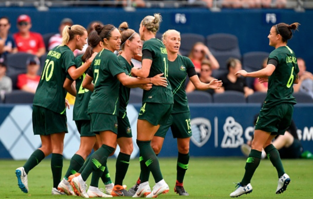 Australia Westfield Matildas celebrate a goal in their first match against Brazil. (Photo: TIM VIZER/AFP/Getty Images)