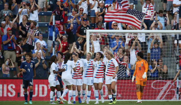 Alex Morgan scored her fourth career international hat trick Thursday against Japan. (Photo by Scott Winters/Icon Sportswire via Getty Images)