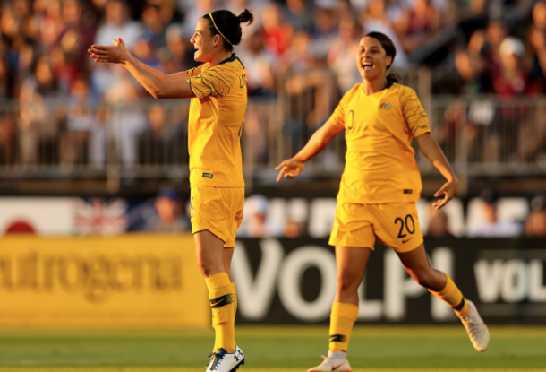 Chloe Logarzo and Sam Kerr celebrate Logarzo's goal against the USWNT. (Photo by Elsa/Getty Images)