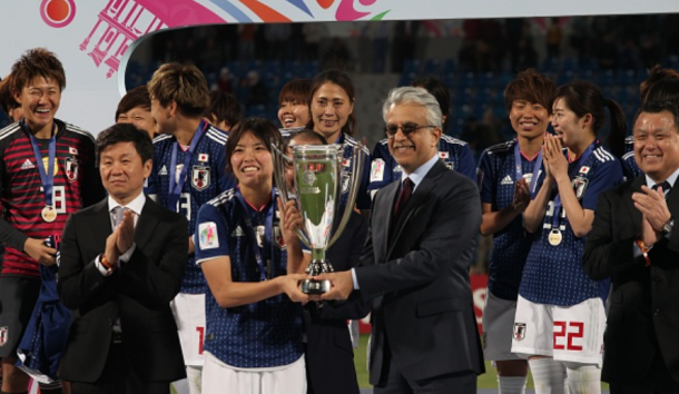 Japan celebrate with the AFC Asian Cup trophy with the win over Australia in April. (Photo by Shadi Nsoor/Anadolu Agency/Getty Images)